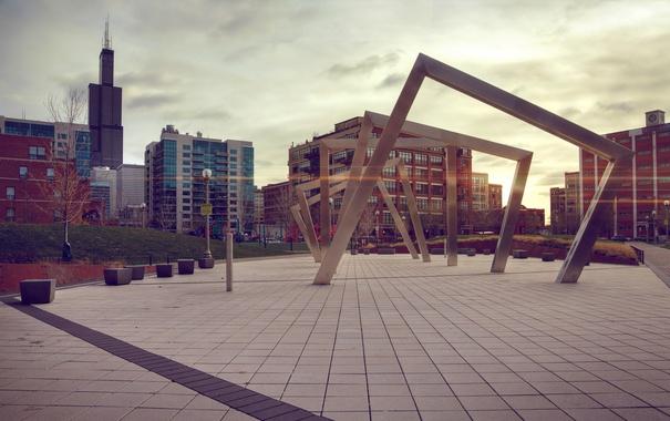 Фото обои город, здания, дома, площадь