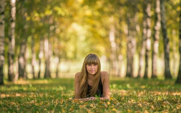 Фото обои осень, взгляд, аллея, Ольга