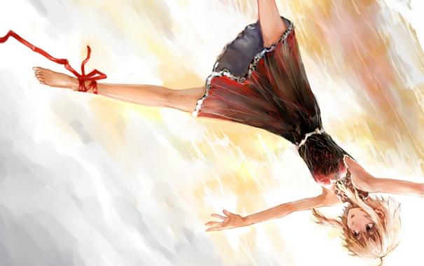 Фото обои девушка, аниме, платье, арт, лента