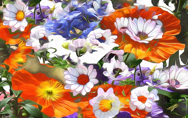 Фото обои линии, сад, луг, лепестки, цветы, штрих