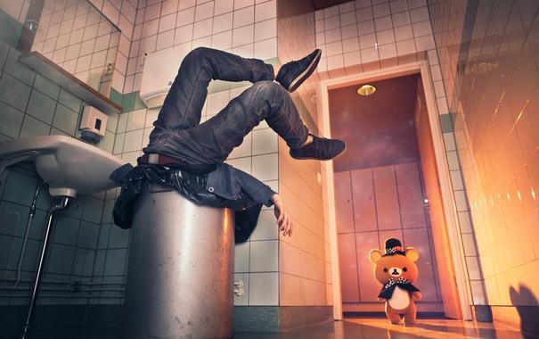 Фото обои мусор, человек, ситуация, мишка
