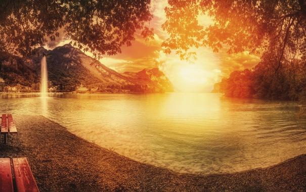 Фото обои озеро, осень, закат