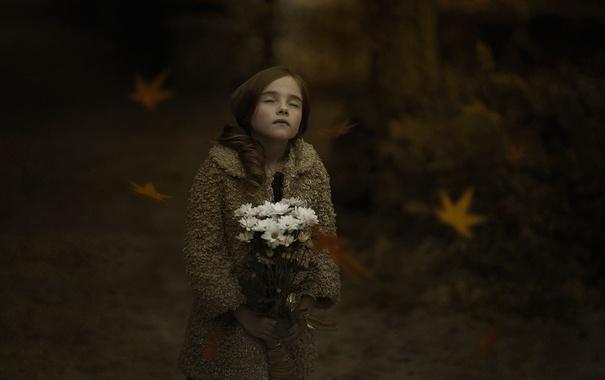 Фото обои осень, листья, букет, девочка