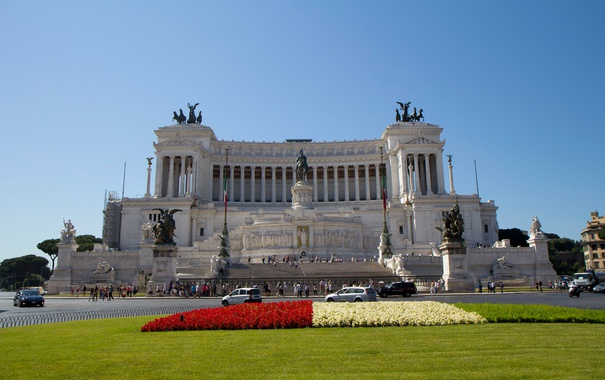 Фото обои небо, трава, цветы, италия, рим, площадь Венеции, Витториано