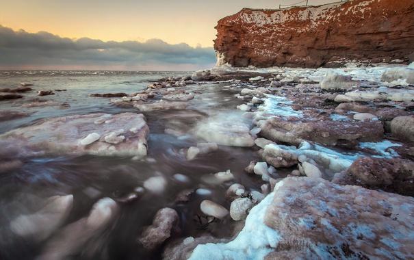 Фото обои море, берег, зима