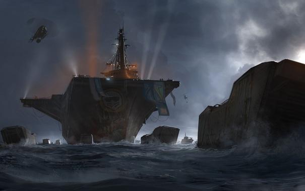 Фото обои море, корабли, арт, вертолет, авианосец, MotorStorm: Apocalypse