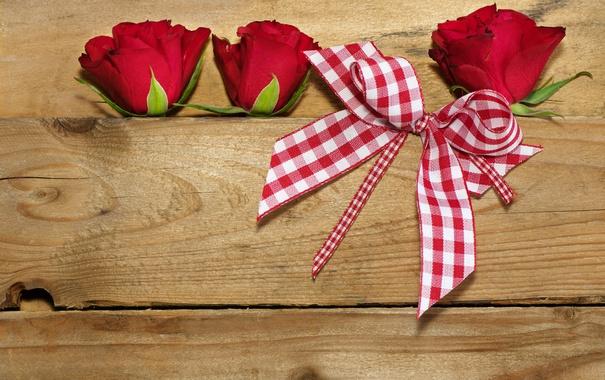 Фото обои цветы, доски, розы, лента, бантик