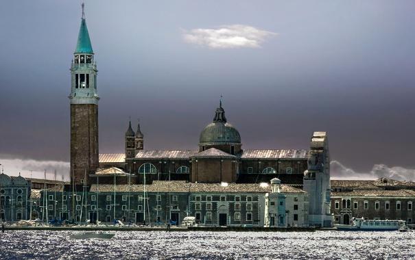Фото обои башня, Италия, церковь, Венеция, канал, колокольня