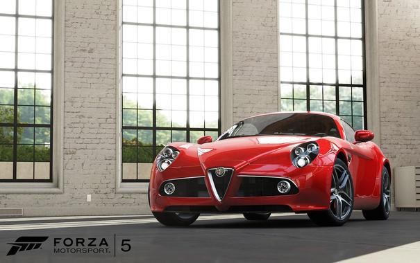 Фото обои окна, ангар, красная, помещение, Forza Motorsport 5? машина