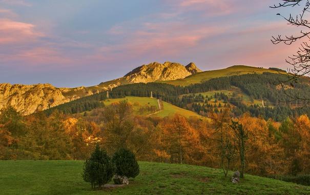 Фото обои grass, sunset, mountains, hills, power line