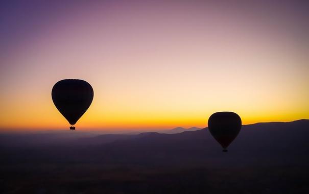 Фото обои закат, шары, спорт