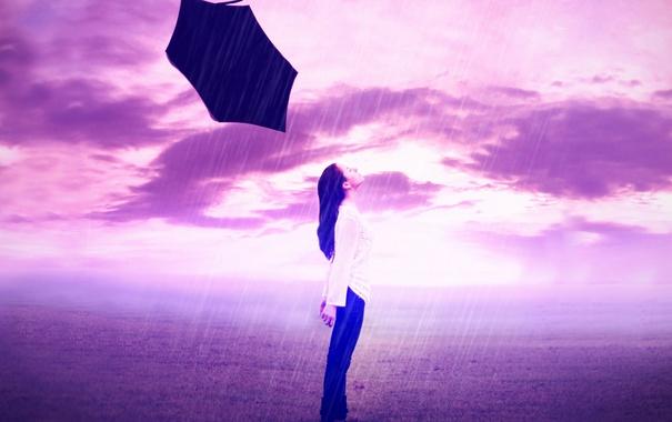 Фото обои девушка, дождь, цвет