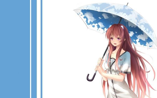 Фото обои взгляд, девушка, радость, фон, зонт, art, yeluno meng