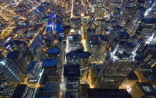 Фото обои Chicago, Night, Flying