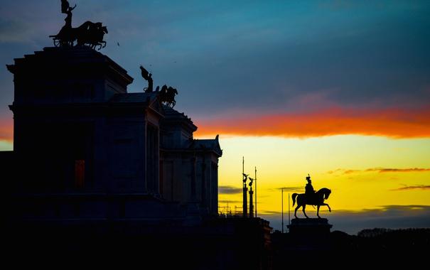 Фото обои Капитолийский холм, Италия, зарево, музей, Рим, Витториано, облака