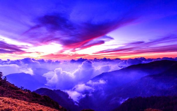Фото обои небо, облака, закат, горы, зарево