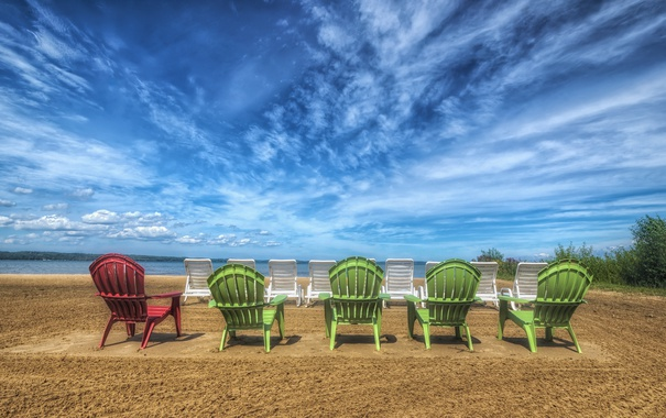 Фото обои песок, пляж, hdr, шезлонги