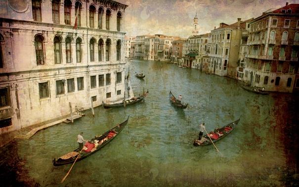 Фото обои city, город, Италия, Венеция, канал, vintage, Italy