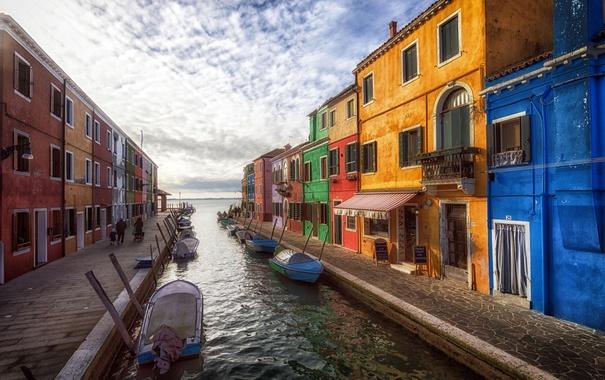 Фото обои утро, Итралия, краски, остров Бурано, дома, лодки, канал