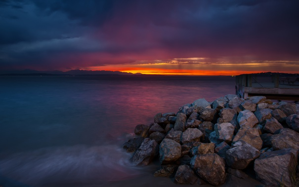 Фото обои пейзаж, закат, океан, берег, West Seattle