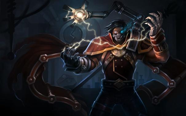 Фото обои магия, молния, рука, парень, жест, art, league of legends