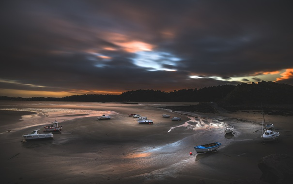 Фото обои ночь, берег, лодки