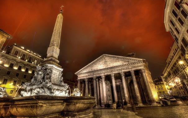 Фото обои небо, люди, вечер, площадь, Рим, Италия, колонны