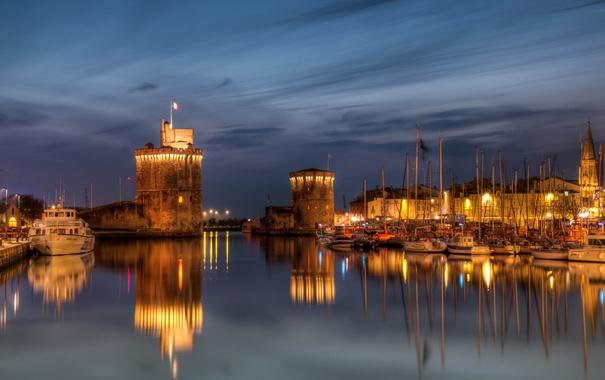Фото обои France, La Rochelle, naght, city., marinas