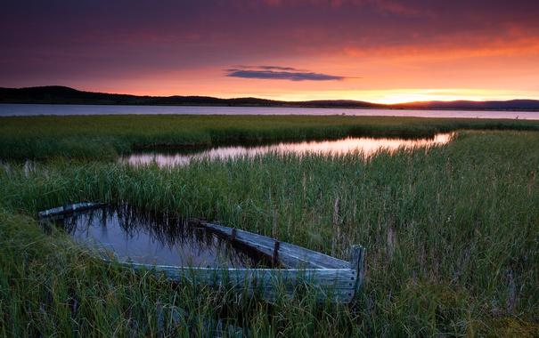 Фото обои sunset, lake, hills, boat