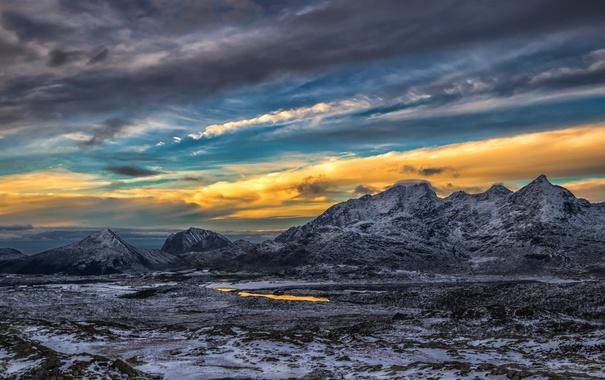 Фото обои облака, снег, закат, горы, озеро, зарево