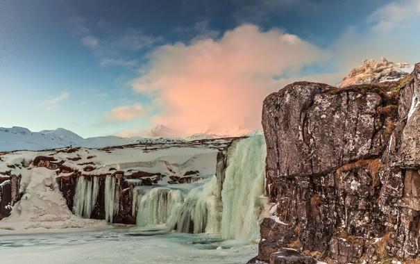 Фото обои лед, зима, небо, горы, водопад, Исландия, Iceland