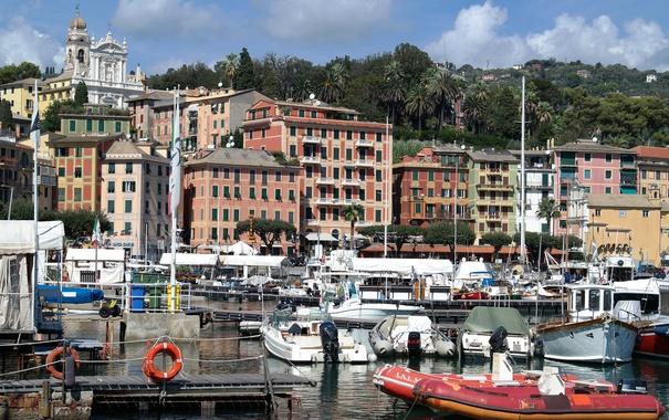 Фото обои горы, дома, яхты, лодки, Италия, церковь, гавань