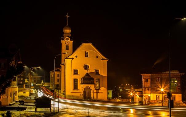 Фото обои дорога, ночь, огни, улица, дома, Швейцария, фонари