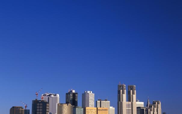 Фото обои небо, пейзаж, небоскреб, дома, мегаполис