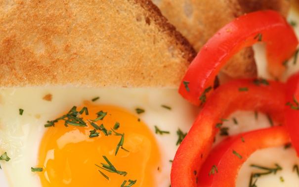 Фото обои зелень, завтрак, хлеб, перец, яичница, тост