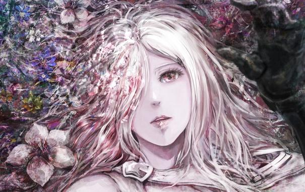 Фото обои девушка, цветы, рука, аниме, арт, yamamoto ari