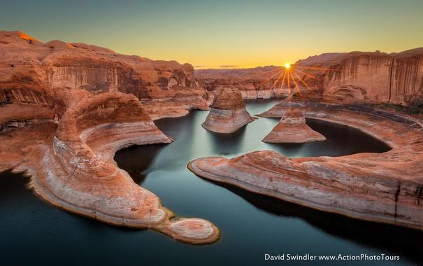 Фото обои утро, каньон, река, солнце