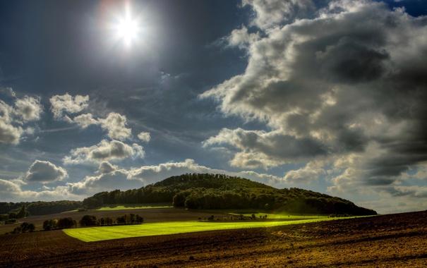 Фото обои небо, солнце, облака, поля, Германия, леса, Wassenach