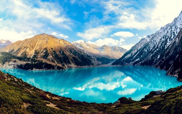 Фото обои отражение, горы, озеро, красиво, Большое Алматинское озеро, небо, лес