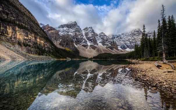 Фото обои деревья, горы, природа, озеро, Канада