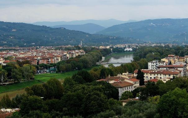 Фото обои деревья, пейзаж, горы, мост, река, дома, Италия