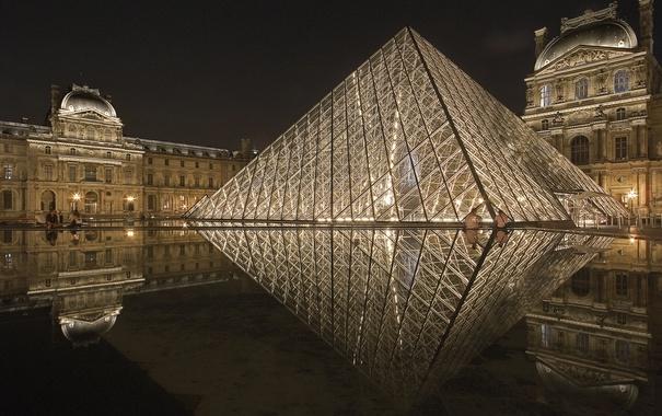 Фото обои огни, Лувр, пирамида, ночь, Париж