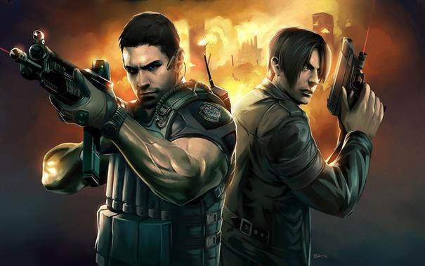 Фото обои пистолет, автомат, Resident Evil, Leon Scott Kennedy, Chris Redfield, Крис Редфилд