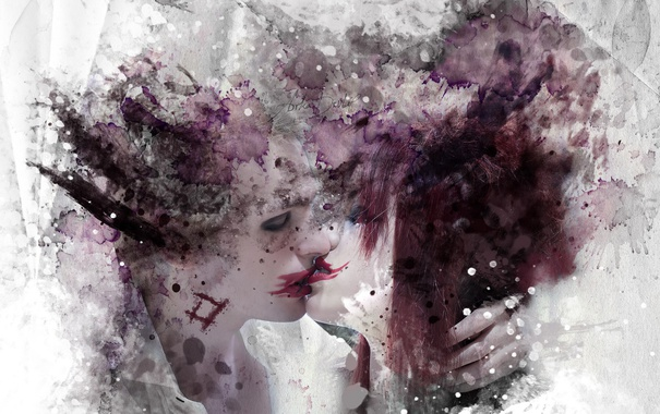 Фото обои арт, девушки, настроение