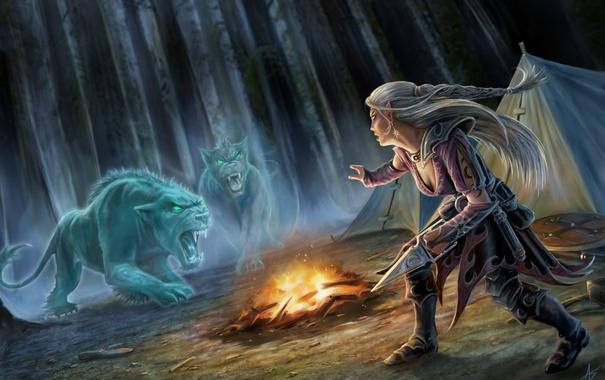 Фото обои лес, девушка, кошки, ночь, хищники, тату, костер