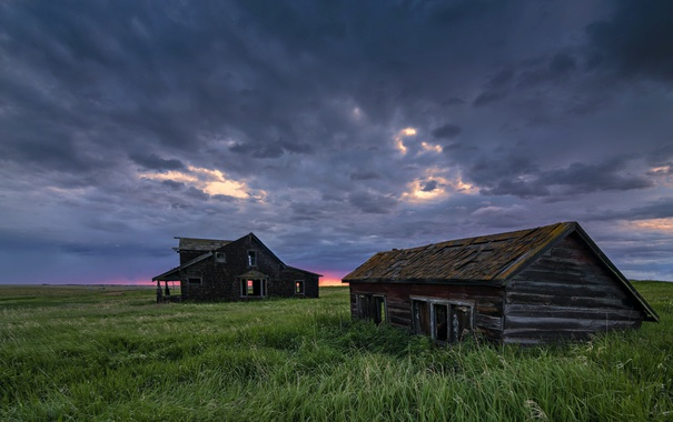 Фото обои Abandoned Homestead, Alberta, поле, пейзаж