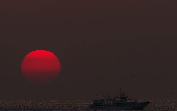 Фото обои море, небо, солнце, закат, корабль, вечер