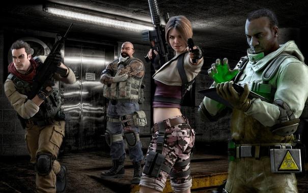 Фото обои pistol, resident evil, biohazard, soldier, woman, man, tatoo
