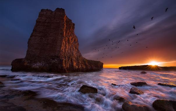 Фото обои море, закат, скалы