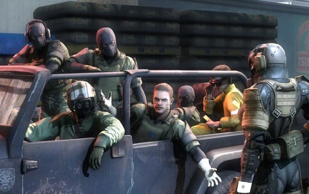 Фото обои мальчик, джип, солдаты, snake, fan art, big boss, Metal Gear Solid V: Ground Zeroes